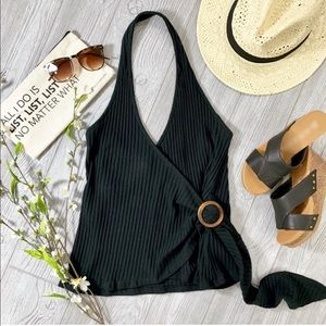 Black Ribbed Surplice Halter Top